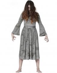 Furchteinflössendes Gespenster-Kostüm für Damen Halloween grau