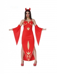 Edle Teufelin Damenkostüm für Halloween rot-gold