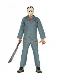 Killer-Kostüm Hockey-Serienmörder für Halloween grau