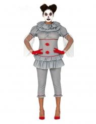 Psycho-Clown Damenkostüm für Halloween grau-rot