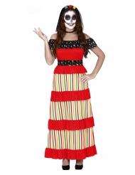 Tag der Toten Skelett-Damenkostüm für Halloween bunt