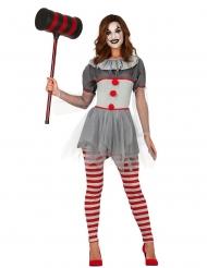 Psychoclown-Damenkostüm für Halloween grau-rot