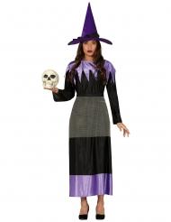 Skelett-Hexe Halloween-Kostüm für Damen schwarz-lila
