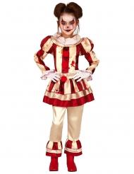 Blutiges Psycho-Clownkostüm für Mädchen rot-beige