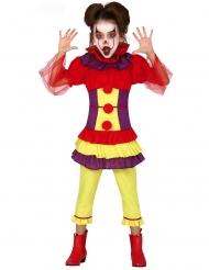 Schauriges Clown-Kostüm für Mädchen Halloween bunt
