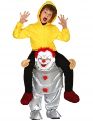 Huckepack-Horrorclown-Kostüm für Kinder Halloween gelb-grau-rot