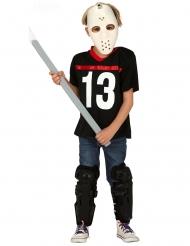 Gruseliger Eishockey-Spieler Halloween-Kostüm für Kinder schwarz-weiss