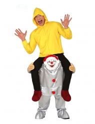 Horrorclown-Carry Me-Kostüm für Erwachsene Halloween grau-gelb