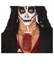 Herz-Kette blutig Halloween Accessoire rot