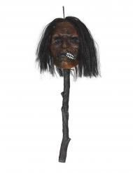 Ekelhafter Schrumpfkopf am Stock mit Licht Halloween-Zubehör braun 53cm