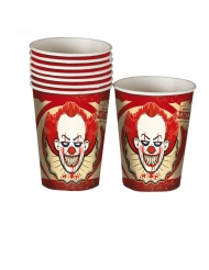 Pappbecher Horror-Clown 8 Stück rot-weiss 250 ml
