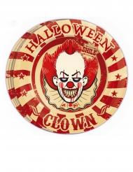 Pappteller Zombie-Clown Halloween Partydeko 8 Stück rot-weiss 23 cm