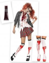 Zombie-Schulmädchen-Kostüm und Kostüm-Accessoires für Damen 3-teilig bunt