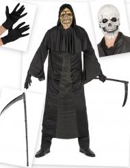 Sensenmann Halloween-Kostüm für Herren 5-teilig schwarz