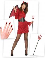 Verführerische Teufelin Halloween-Kostüm 6-teilig rot