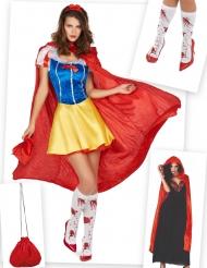 Blutiges Schneewittchen-Kostüm mit Kostümzubehör 6-teilig bunt