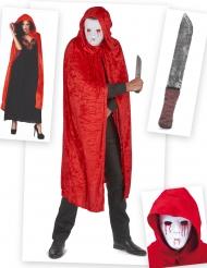 Serienmörder Halloweenkostüm für Erwachsene 3-teilig rot