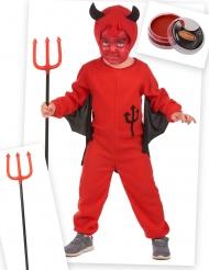 Teufelskostüm und Kostüm-Accessoires für Kinder 4-teilig rot