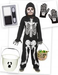 Halloween Skelett-Kostüm-Set für Kinder 5-teilig schwarz-weiss