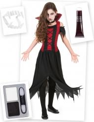Schauriges Vampir-Kostüm-Set für Mädchen Halloween 6-teilig rot-schwarz