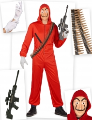 Bankräuber-Kostüm-Set Serien-Verkleidung 6-teilig rot-schwarz