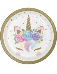 Einhorn-Pappteller Party-Zubehör für Kindergeburtstage 8 Stück pastellfarben 18 cm