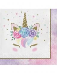 16 Einhorn-Servietten weiss-rosa 33 x 33 cm