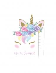Einhorn-Einladungskarten mit Umschlägen 16-teilig pastellfarben 10 x 15 cm
