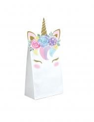 Bezaubernde Einhorn-Geschenktüten 8 Stück weiss 11,4 x 20cm