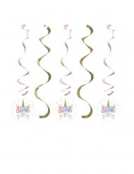 Einhorn-Spiraldeko für Kindergeburtstage 5 Stück gold-rosa 76 x 99 cm