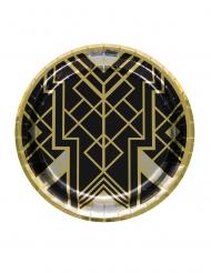 20er-Jahre Charleston Pappteller 8 Stück Tischzubehör schwarz-gold 23 cm