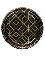 20er-Jahre Pappteller klein Tischdeko-Mottoparty 8 Stück schwarz-gold 18 cm