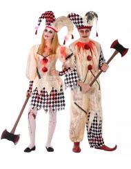 Zombie-Harlekin Paarkostüm für Teenager Halloween beige-schwarz-weiss