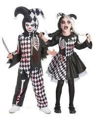 Blutiges Harlekin-Paarkostüm für Kinder Halloween schwarz-weiss