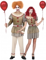 Psychoclown-Paarkostüm für Erwachsene Halloween beige-rot-grau