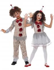 Horror-Clown Paarkostüm für Kinder Halloween grau-weiss-rot