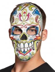 Sugar Skull-Maske Dia de los Muertos weiss-bunt