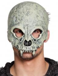 Totenschädel-Maske Halloween-Zubehör für Erwachsene beige