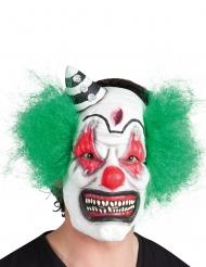 Schaurige Horrorclown-Maske Killerclown weiss-bunt