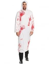 Blutige Tunika mit Kapuze Serienmörder-Kostüm für Erwachsene weiss-rot