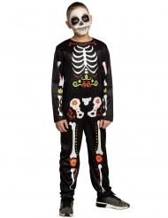 Dia de los Muertos-Kostüm-Overall für Kinder schwarz-bunt