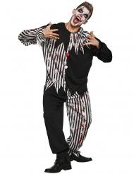 Clownkostüm für Herren Halloweenkostüm schwarz-weiss