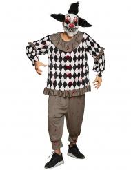Psychopathen Clown-Kostüm für Halloween schwarz-grau-weiss