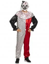 Furchteinflössender-Horrorclown Halloween-Kostüm rot-weiss-schwarz