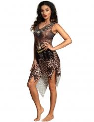 Dschungel-Kostüm für Frauen mit Leopardenprint braun