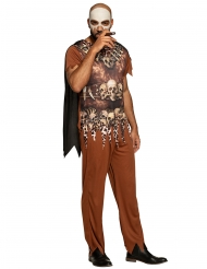 Dschungel-Kostüm für Herren mit Leopardenprint und Totenköpfen braun