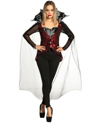 Sexy Vampirin-Damenkostüm für Halloween schwarz-rot-silber