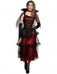 Charmantes Vampir-Kostüm für Damen Halloween-Verkleidung rot-schwarz