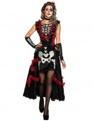 Tag der Toten-Verkleidung Halloween-Damenkostüm schwarz-rot