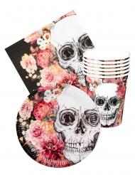 Einweggeschirr-Set Totenköpfe und Blumen Tischdekoration bunt